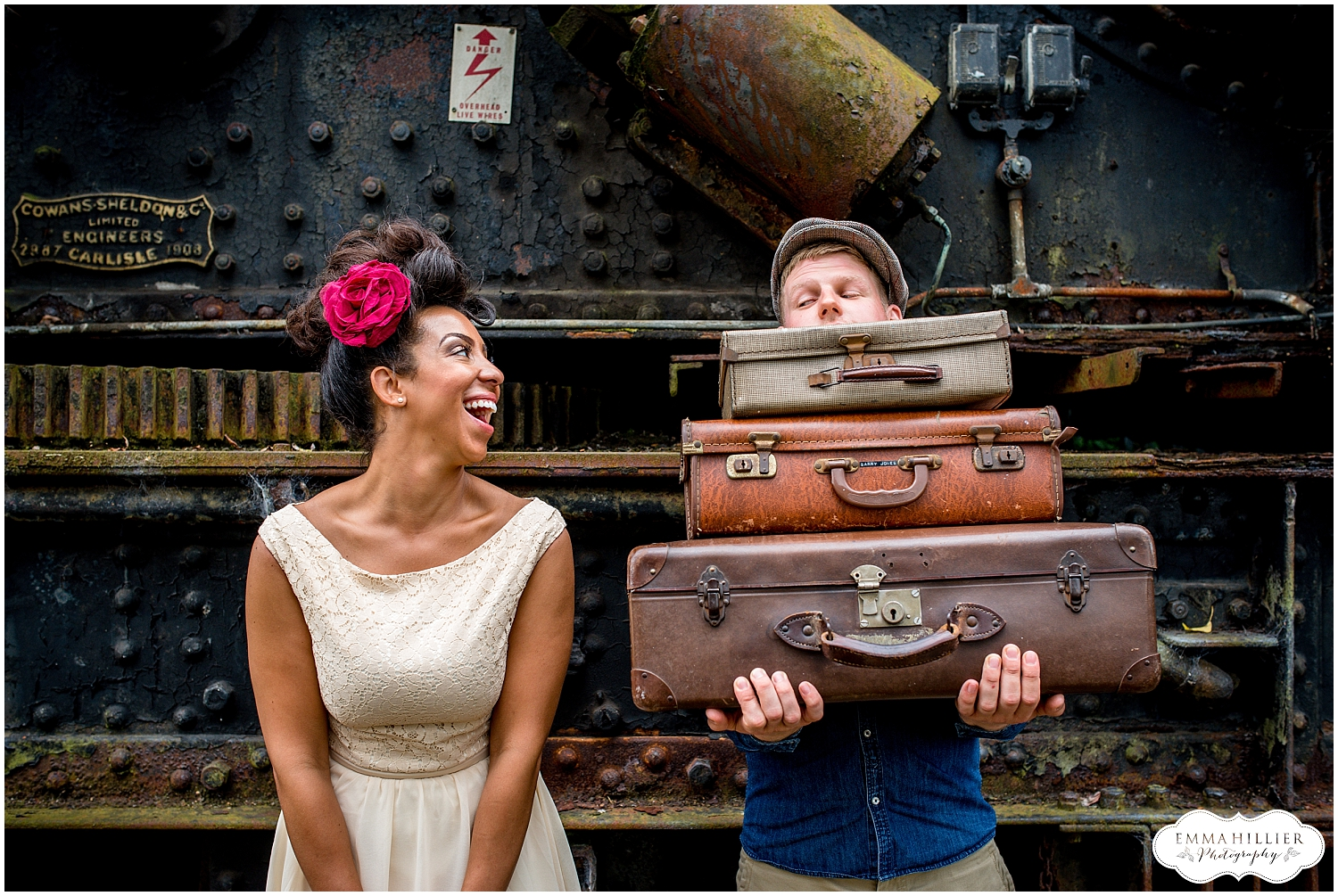 vintage railway pre-wedding shoot