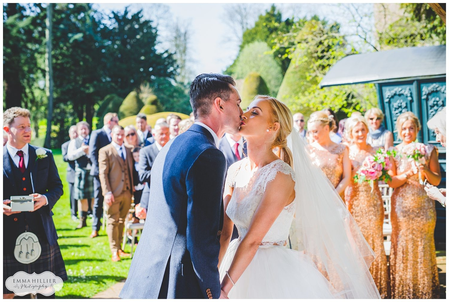 Outdoor wedding ceremony at Askam Hall
