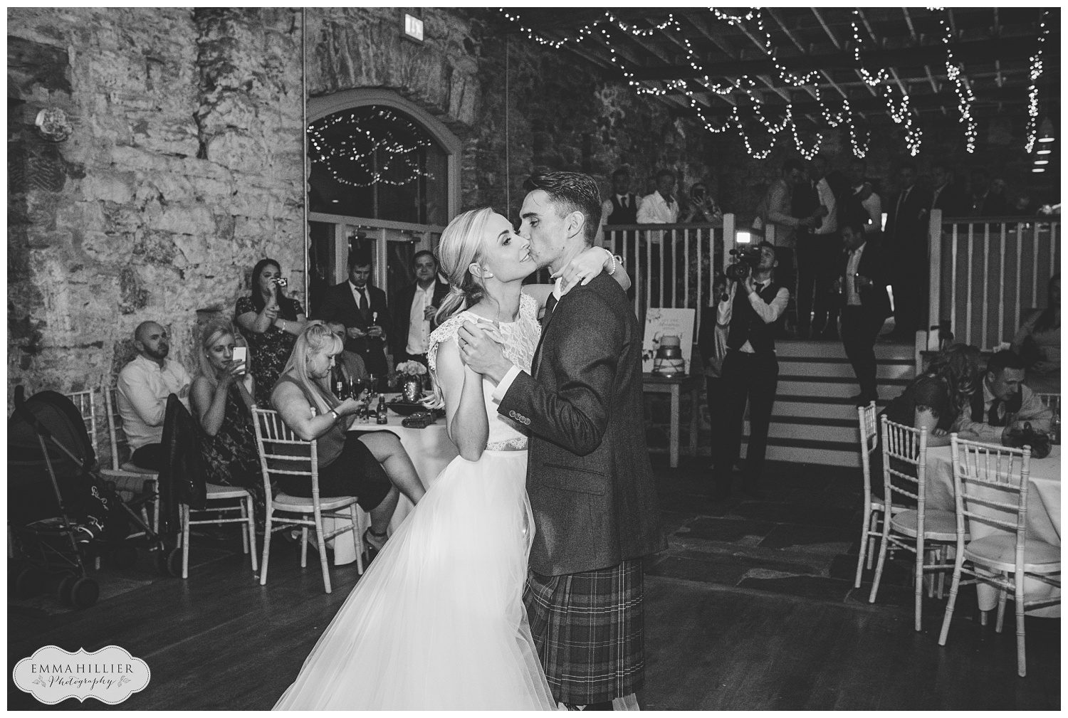 bride and groom during their first dance at Askam Hall