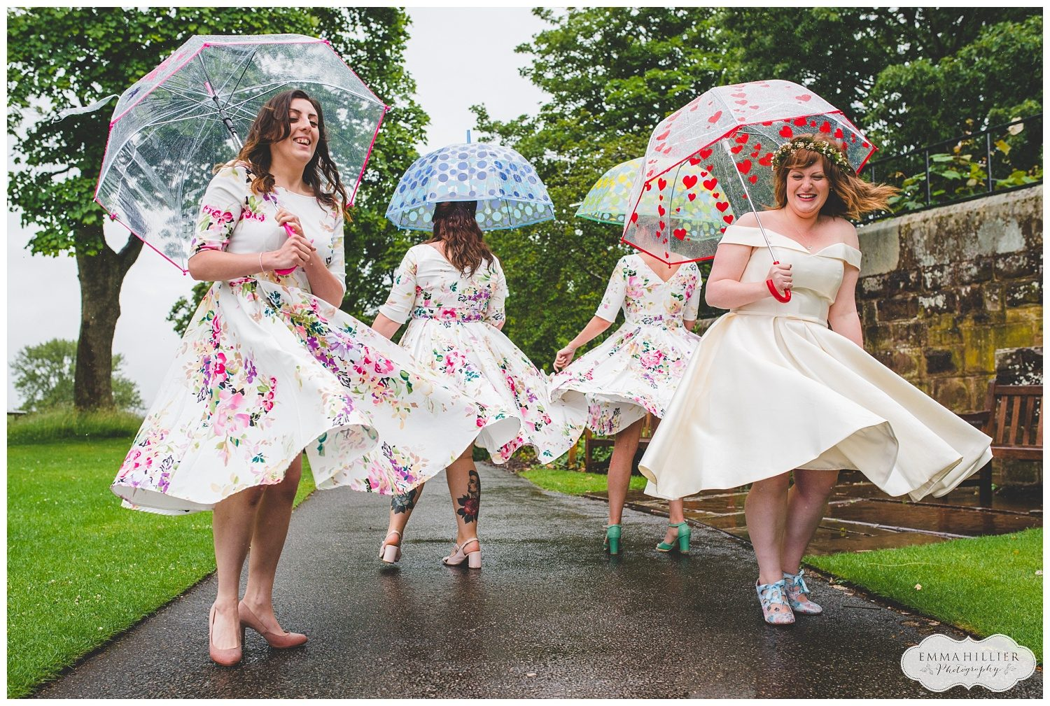 very wet wedding at Ness Gardens
