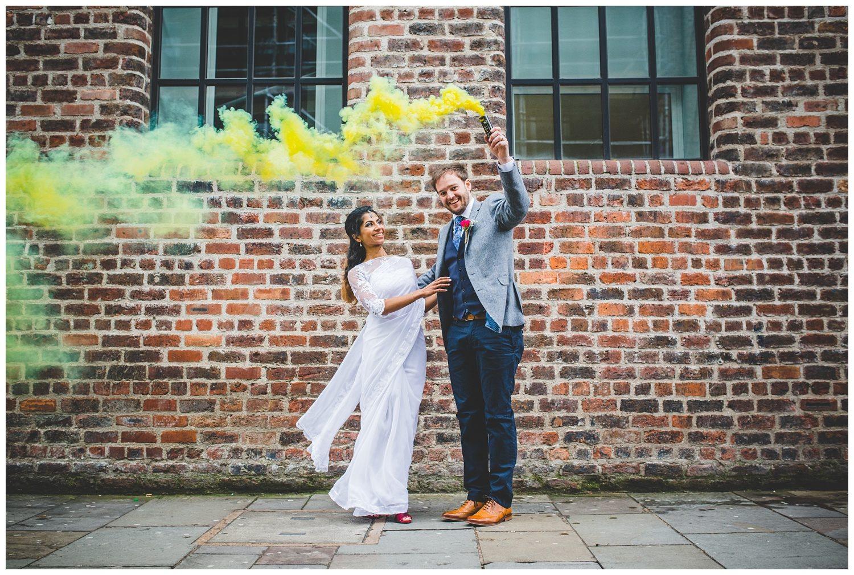 Wedding with smoke bombs