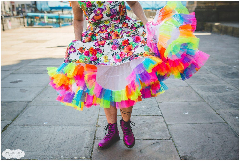 Rainbow coloured wedding dress