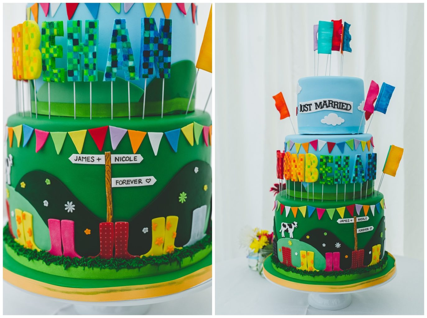 Glastonbury inspired wedding cake