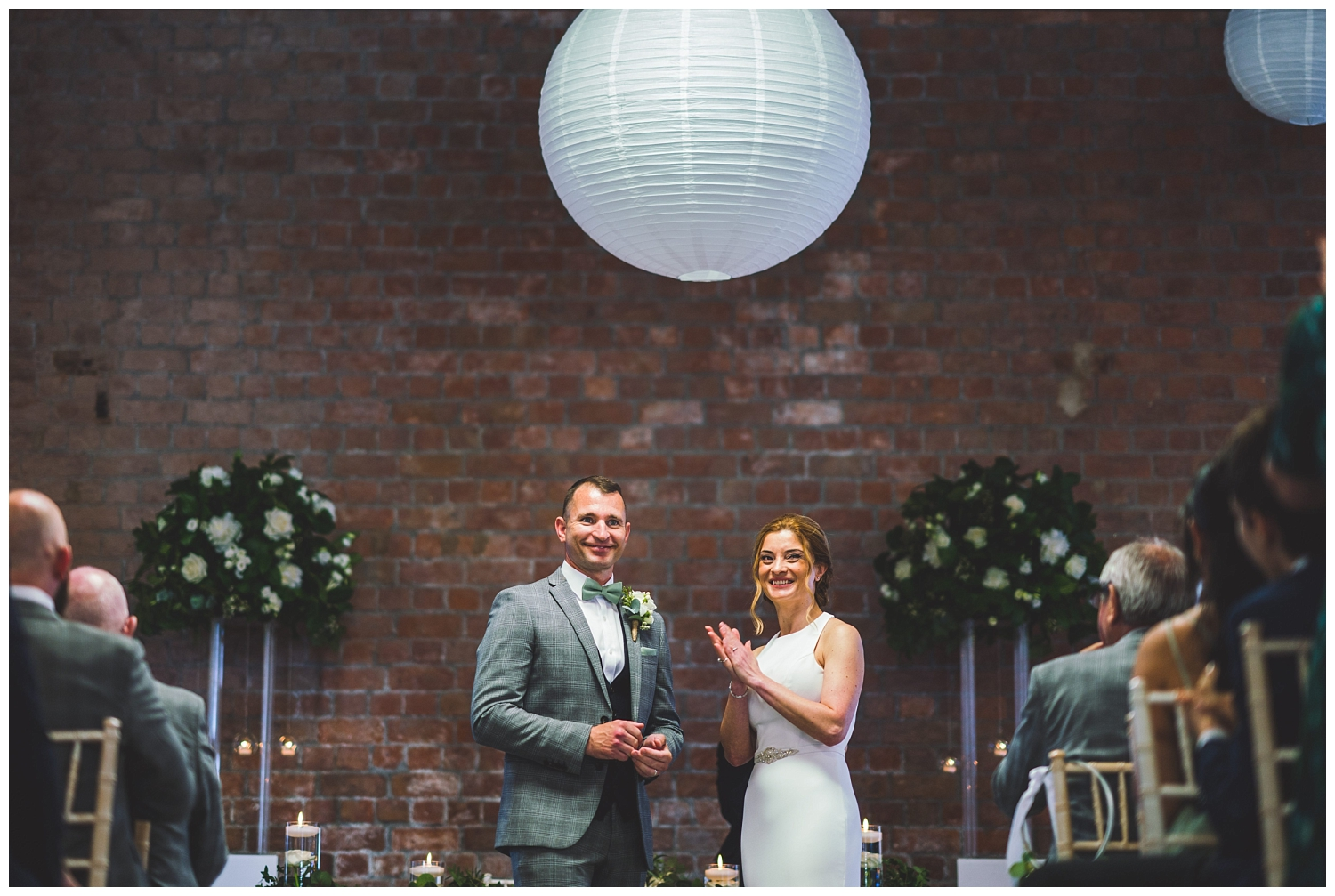 Couple just married at the Titanic Hotel in Liverpool