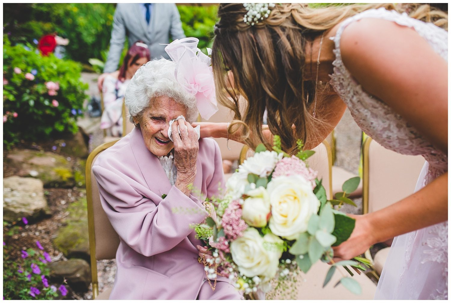 Grandmother getting emotional at a wedding
