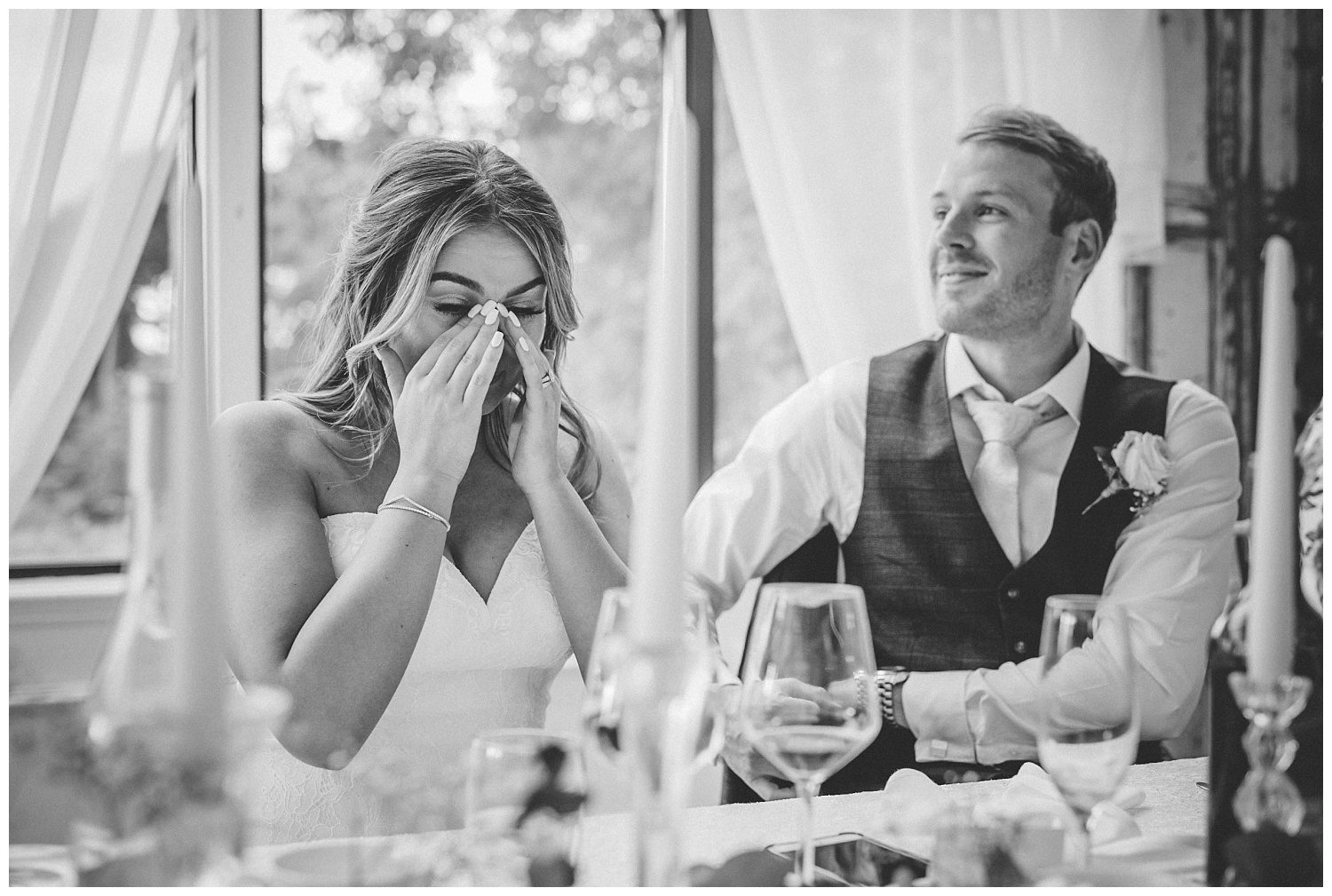 Bride getting emotional during her father's speech