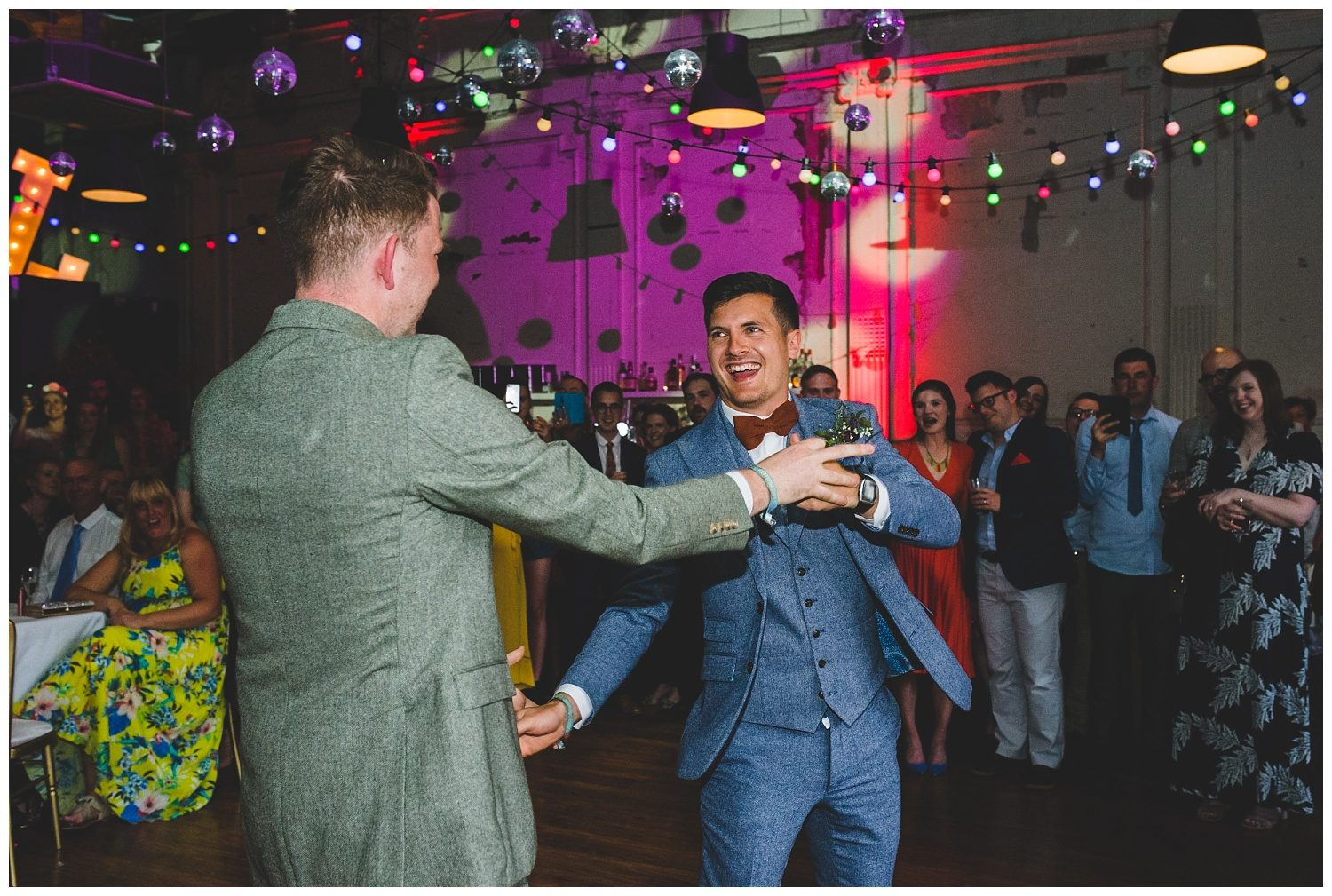 Two happy grooms at their Leaf Liverpool wedding