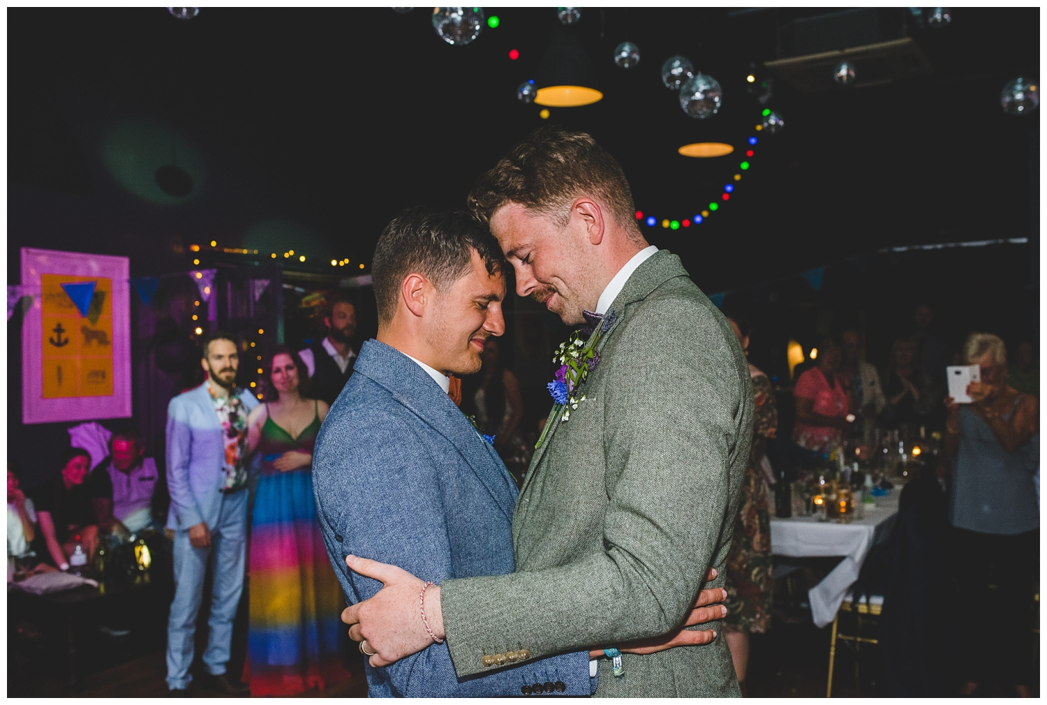 Two grooms enjoying their first dance at Leaf Liverpool