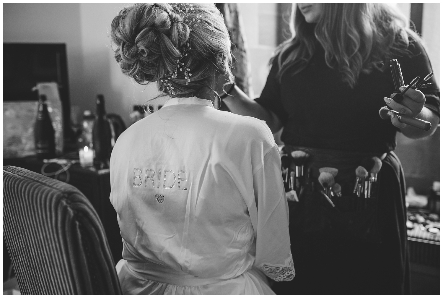 Bride getting ready at Peckforton Castle