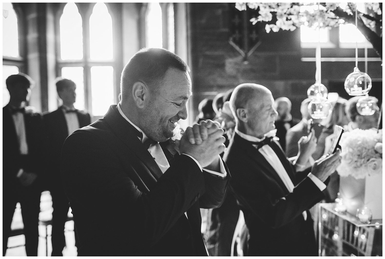 Groom waiting for his bride at Peckforton Castle wedding