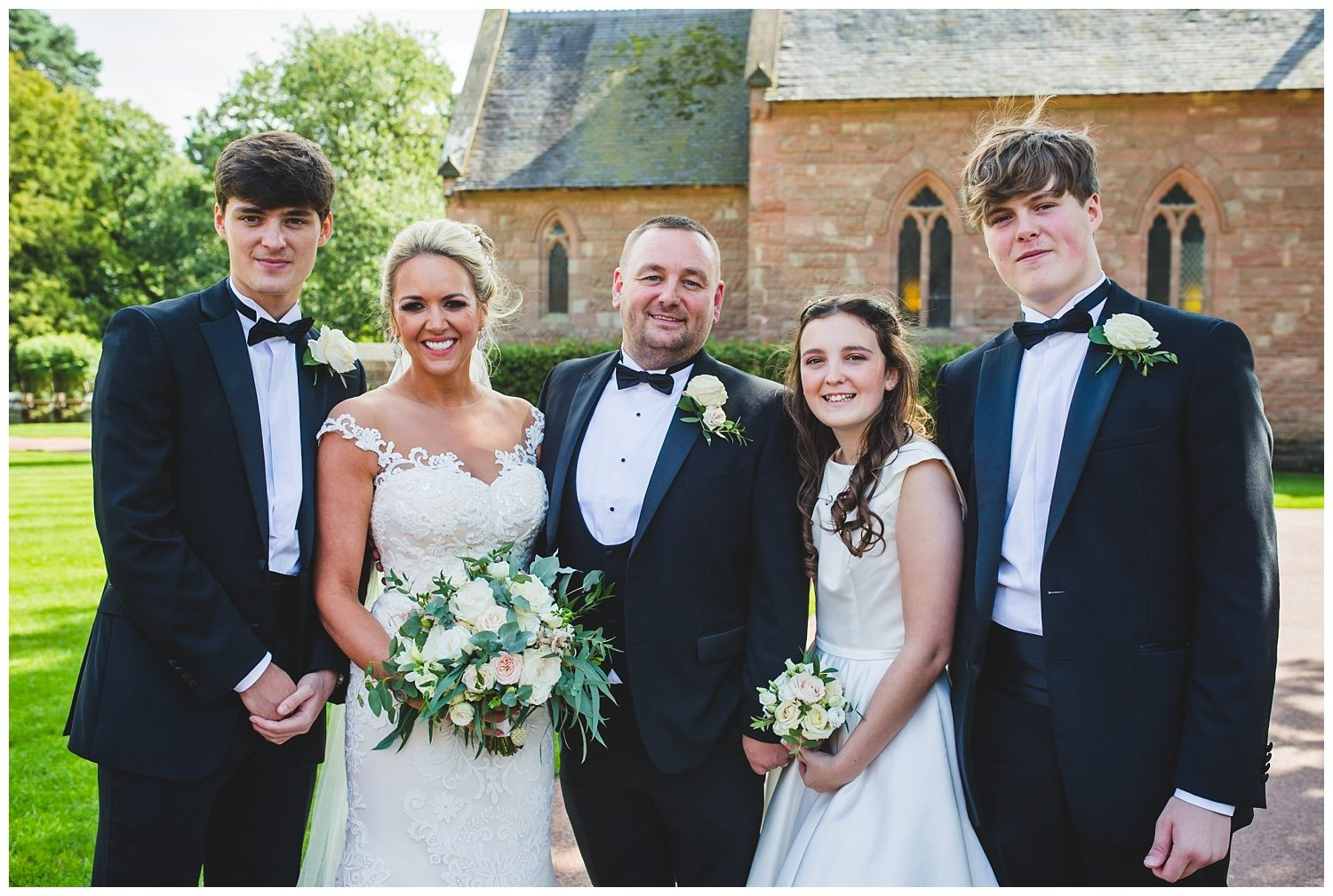 Family portrait at Peckforton Castle wedding