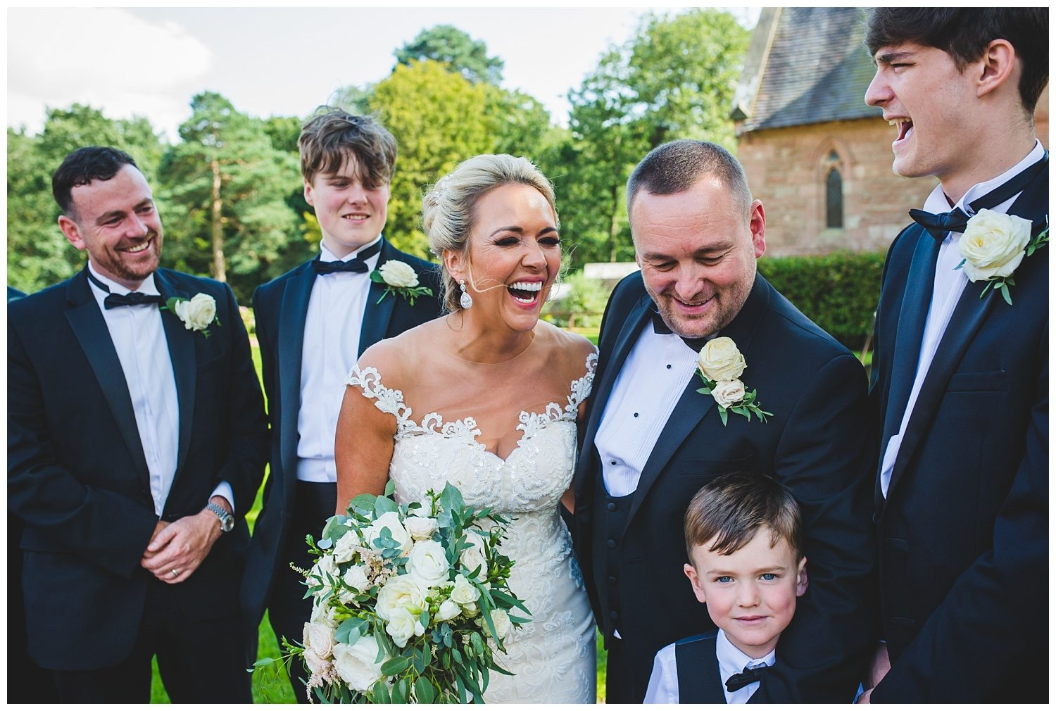Bridal party at Peckforton Castle wedding