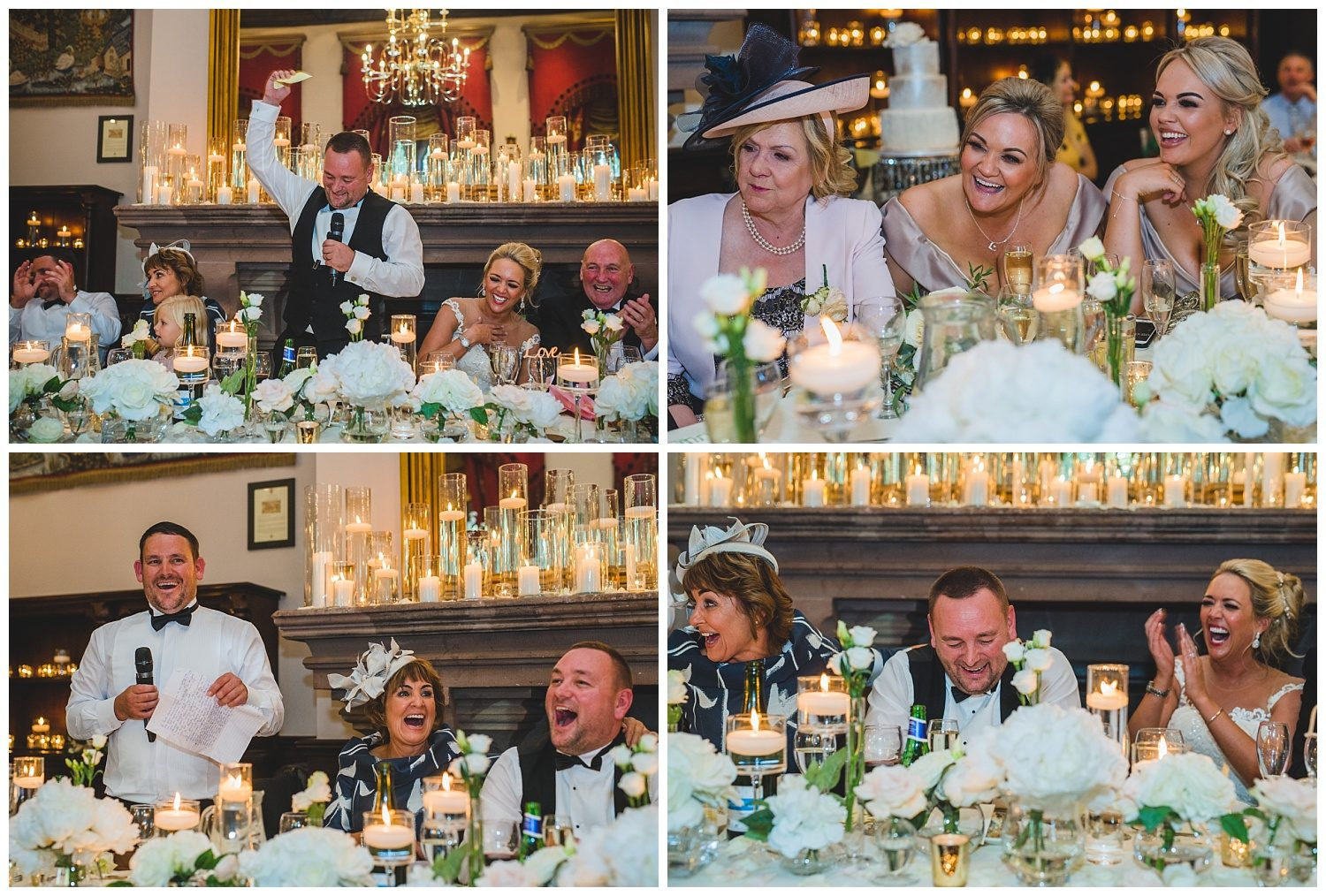 Guests laughing at the wedding speeches at Peckforton Castle