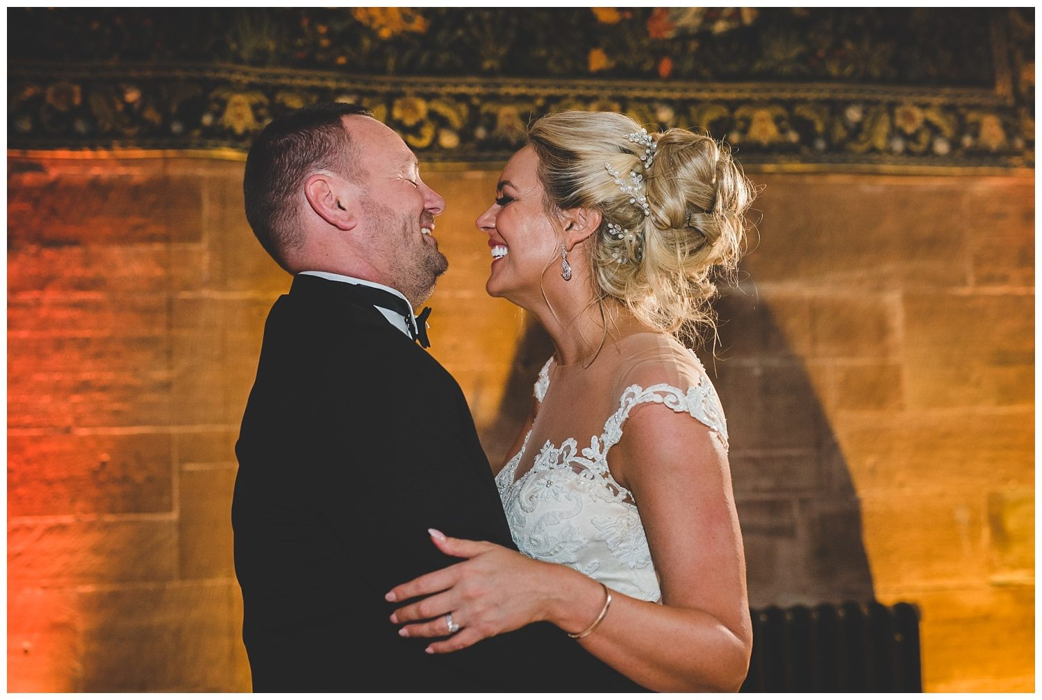 Bride and groom's first dance at Peckforton Castle wedding
