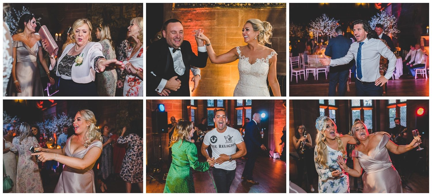 Guests dancing at Peckforton Castle wedding