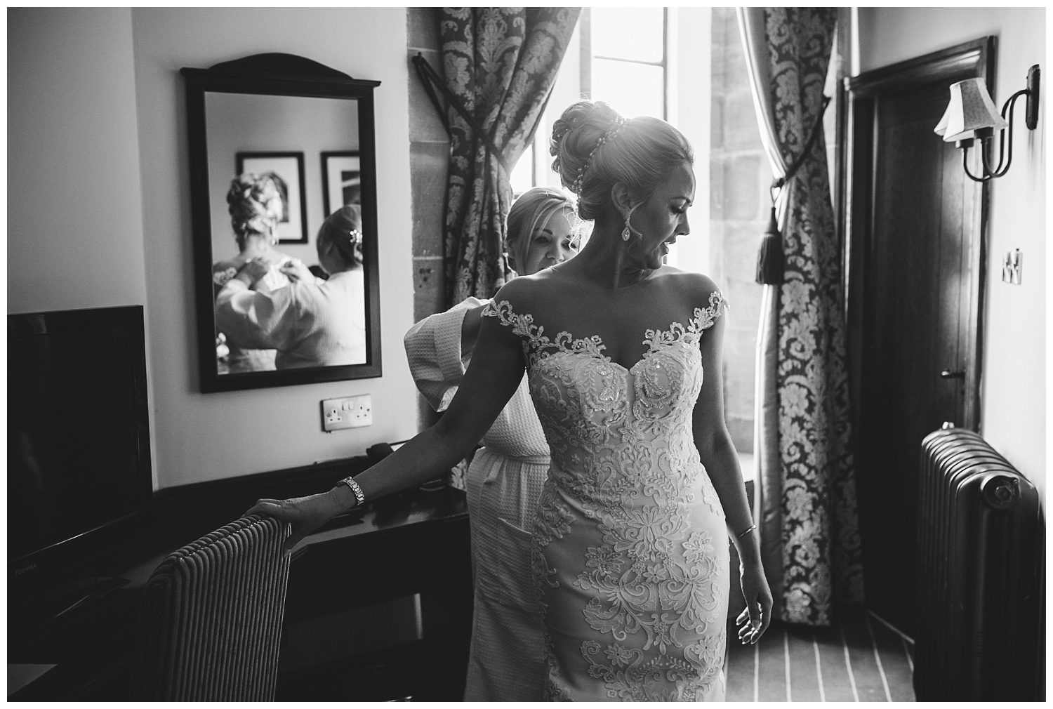Bride getting ready for her Peckforton Castle wedding