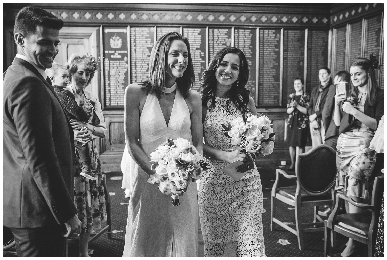 Two happy brides after their Chester Town Hall wedding
