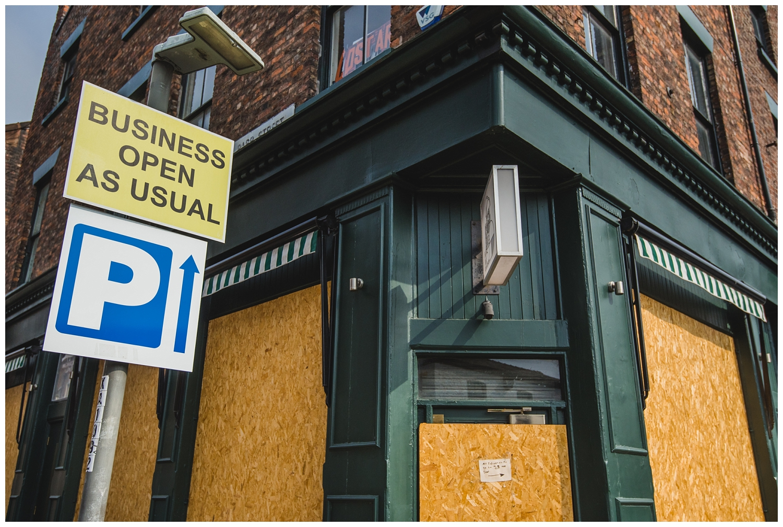 Closed bar in Liverpool, lockdown 2020